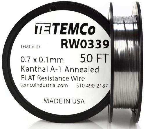 0.7 x 0.1 mm 50 ft Kanthal A-1 flat ribbon resistance wire.