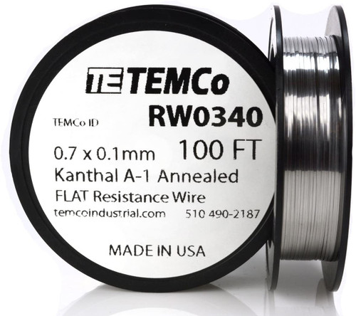 0.7 x 0.1 mm 100 ft Kanthal A-1 flat ribbon resistance wire.