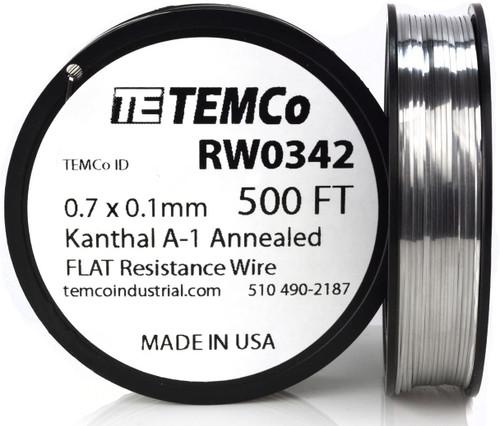 0.7 x 0.1 mm 500 ft Kanthal A-1 flat ribbon resistance wire.