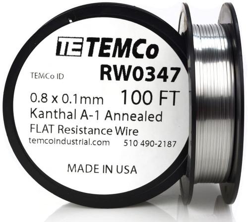 0.8 x 0.1 mm 100 ft Kanthal A-1 flat ribbon resistance wire.