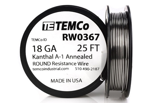 18 AWG 25 ft Kanthal A-1 round resistance wire.