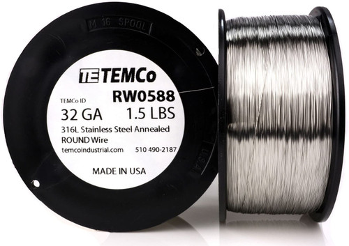 32 AWG 1.5 lb Stainless steel 316L wire.
