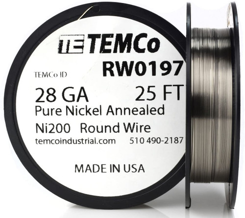 Pure Nickel Wire 28 AWG RW0197 - 25 Ft 0.19144 oz Nickel 200 Ni200 Non-Resistance