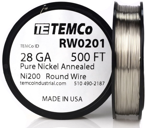 Pure Nickel Wire 28 AWG RW0201 - 500 Ft 3.8288 oz Nickel 200 Ni200 Non-Resistance