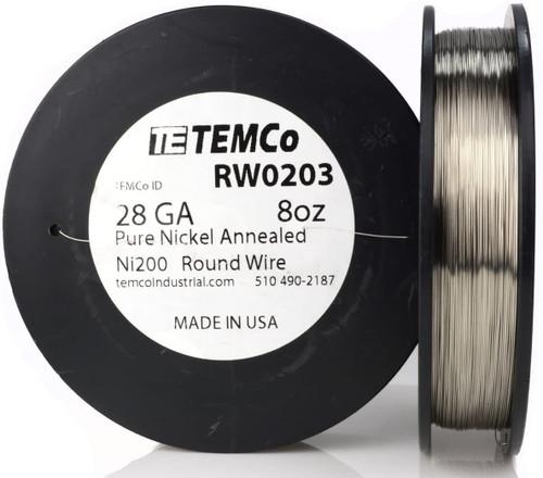 Pure Nickel Wire 28 AWG RW0203 - 8 oz 1045 ft Nickel 200 Ni200 Non-Resistance