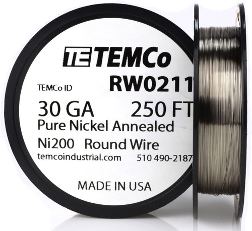 Pure Nickel Wire 30 AWG RW0211 - 250 Ft 1.2056 oz Nickel 200 Ni200 Non-Resistance
