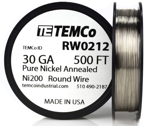Pure Nickel Wire 30 AWG RW0212 - 500 Ft 2.4112 oz Nickel 200 Ni200 Non-Resistance