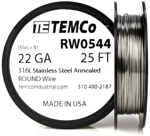 Stainless Steel Wire 22 AWG RW0544 - 25 FT 0.69 oz SS 316L Non-Resistance AWG