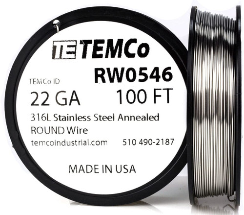 Stainless Steel Wire 22 AWG RW0546 - 100 FT 2.76 oz SS 316L Non-Resistance AWG