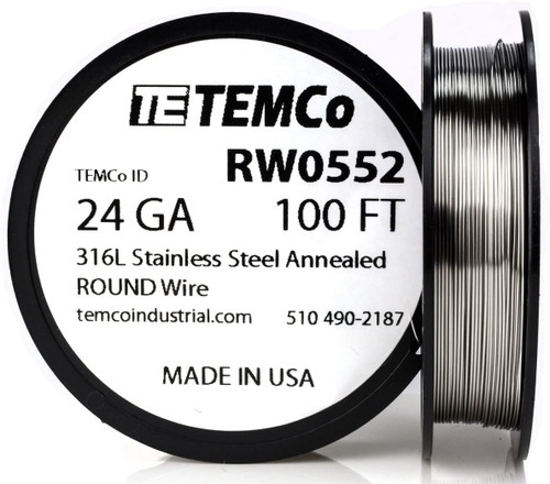 Stainless Steel Wire 24 AWG RW0552 - 100 FT 1.74 oz SS 316L Non-Resistance AWG