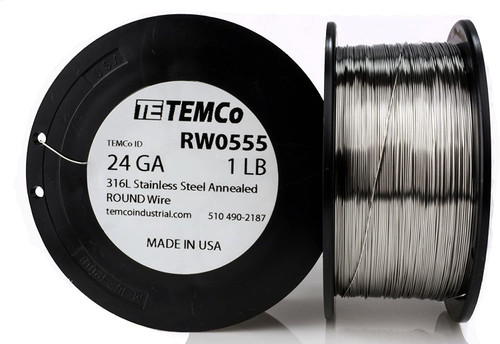 Stainless Steel Wire 24 AWG RW0555 - 1 lb 919 ft SS 316L Non-Resistance AWG