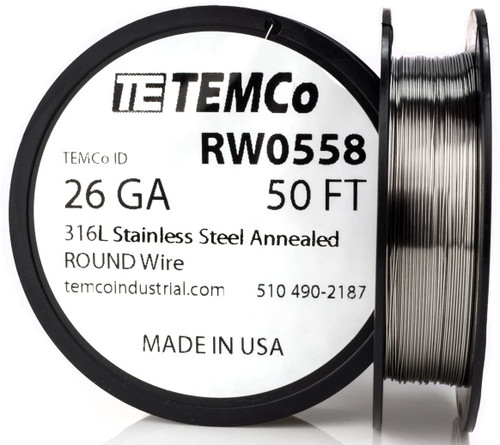 Stainless Steel Wire 26 AWG RW0558 - 50 FT 0.54 oz SS 316L Non-Resistance AWG