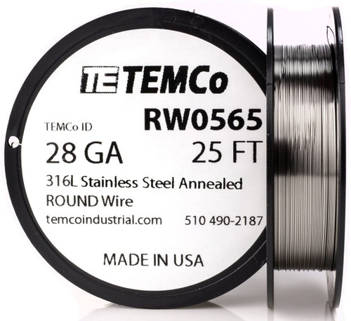 Stainless Steel Wire 28 AWG RW0565 - 25 FT 0.17 oz SS 316L Non-Resistance AWG
