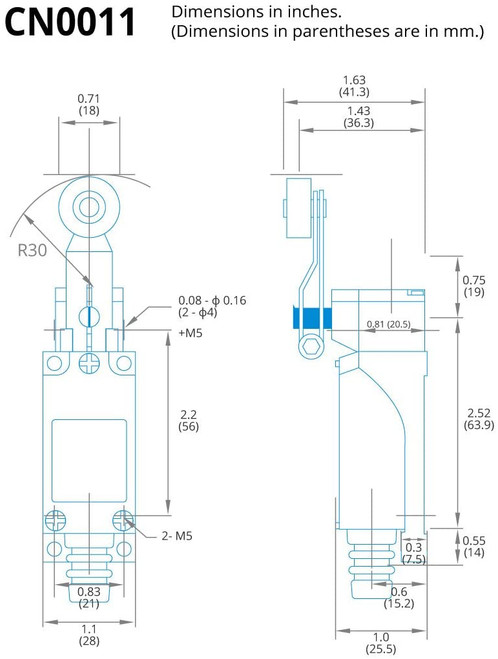 Fixed Roller Arm Limit Switch - NC NO