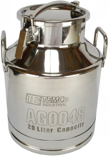 20 Liter (5.25 Gallon) Stainless Steel Milk Can / Wine Pail / Sealed Dry Storage