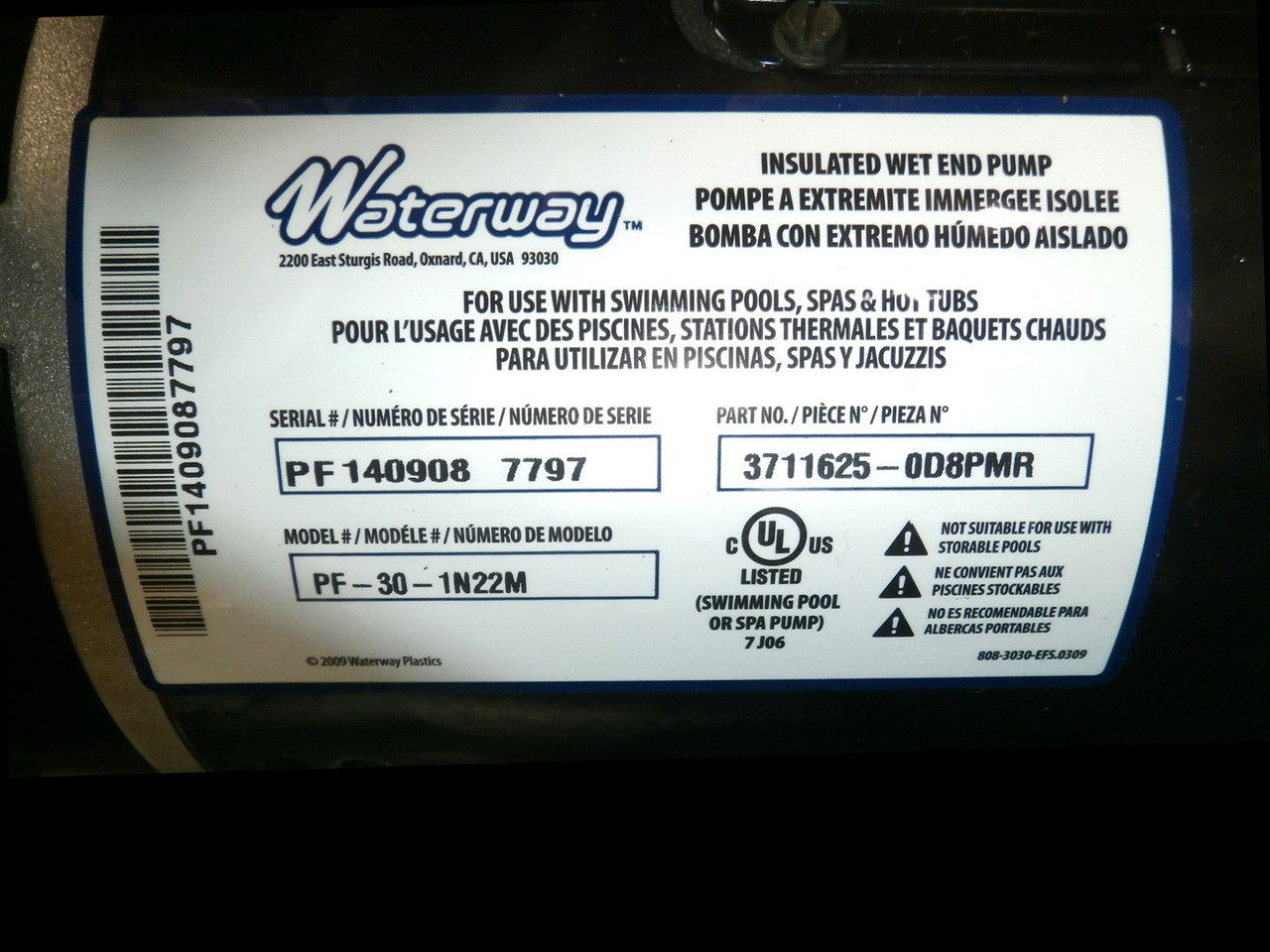 Piscines Es & Spas x320500 - spa pump - 12a 1spd 56 frame executive waterway pump