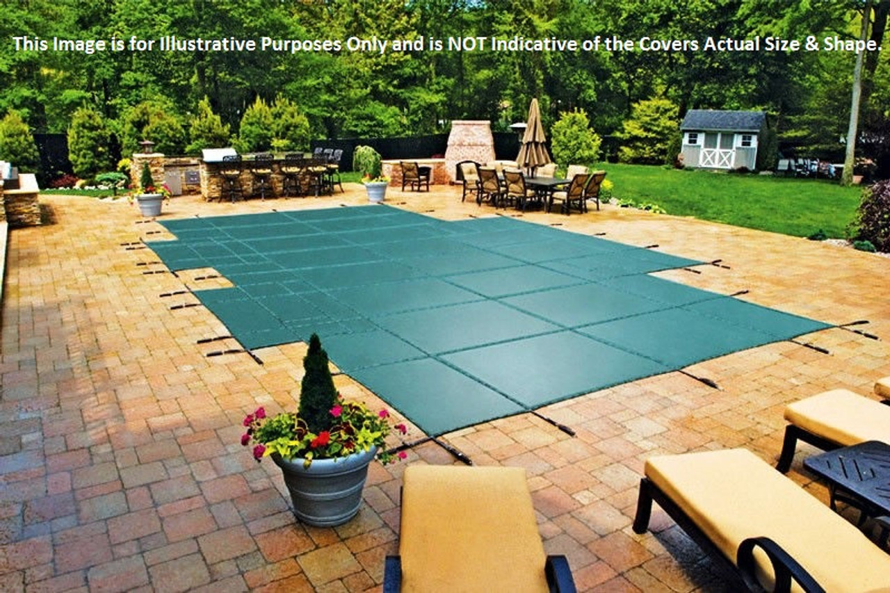 16' x 32' Rectangle Ultra-Loc III Solid Gray with Drain Panels In-Ground Pool Safety Cover