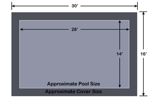 14' x 28' Rectangle Loop-Loc II Gray Super Mesh In-Ground Pool Safety Cover