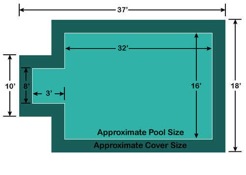 16' x 32' Rectangle with 3' x 8' Center End Step Loop-Loc II Super Dense Mesh In-Ground Pool Safety Cover