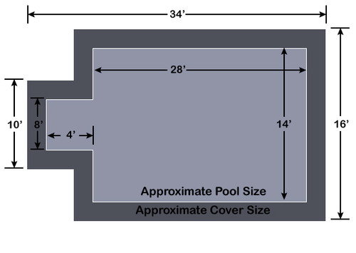 14' x 28' Rectangle with 4' x 8' Center End Step Loop-Loc II Gray Super Dense Mesh In-Ground Pool Safety Cover