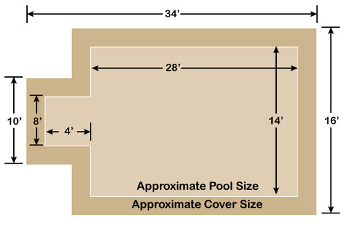 14' x 28' Rectangle with 4' x 8' Center End Step Loop-Loc II Tan Super Dense Mesh In-Ground Pool Safety Cover