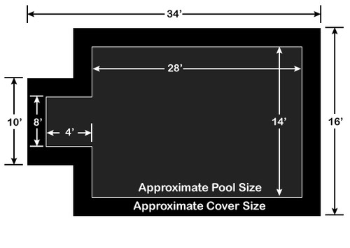 14' x 28' Rectangle with 4' x 8' Center End Step Loop-Loc II Black Super Dense Mesh In-Ground Pool Safety Cover