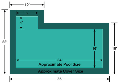 16' x 34' Rectangle with 4' x 8' Left Flush Step Loop-Loc II Super Dense Mesh In-Ground Pool Safety Cover
