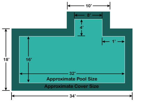 16' x 32' Rectangle with 4' x 8' right 1' Offset Step Loop-Loc II Super Dense Mesh In-Ground Pool Safety Cover