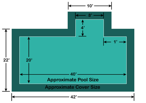 20' x 40' Rectangle with 4' x 8' right 1' Offset Step Loop-Loc II Super Dense Mesh In-Ground Pool Safety Cover
