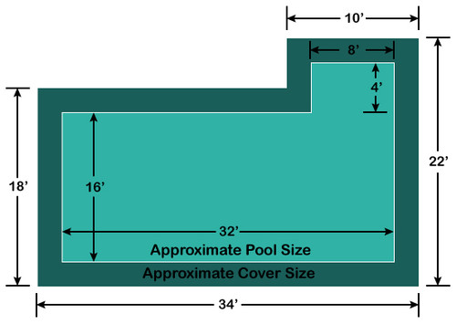 16' x 32' Rectangle with 4' x 8' Right Flush Step Loop-Loc II Super Dense Mesh In-Ground Pool Safety Cover