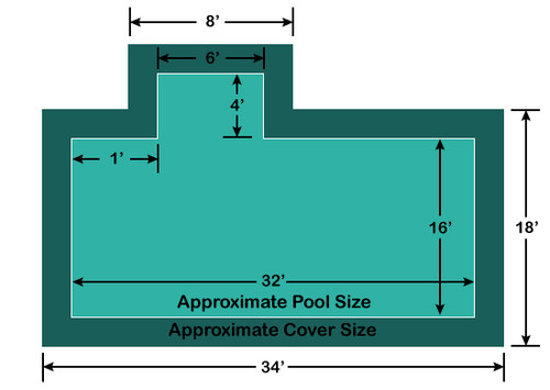 16' x 32' Rectangle with 4' x 6' Left 1' Offset Step Loop-Loc II Super Dense Mesh In-Ground Pool Safety Cover