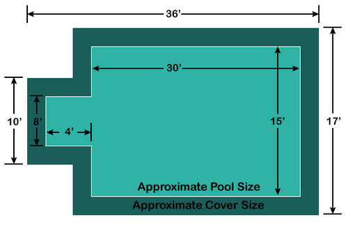 15' x 30' Rectangle with 4' x 8' Center End Step Loop-Loc II Super Dense Mesh In-Ground Pool Safety Cover