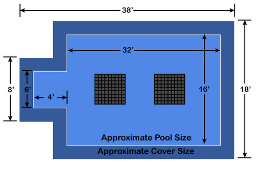 16' x 32' Rectangle with 4' x 6' Center End Step Ultra-Loc III Solid Blue- Drain Panels In-Ground Pool Safety Cover