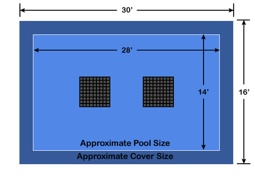 14' x 28' Rectangle Ultra-Loc III Solid Blue with Drain Panels In-Ground Pool Safety Cover