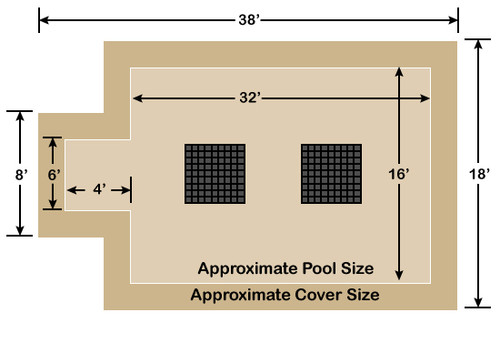 16' x 32' Rectangle with 4' x 6' Center End Step Ultra-Loc III Solid Tan- Drain Panels In-Ground Pool Safety Cover