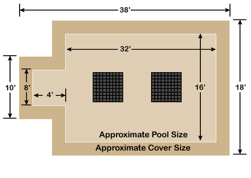 16' x 32' Rectangle with 4' x 8' Center End Step Ultra-Loc III Solid Tan- Drain Panels In-Ground Pool Safety Cover