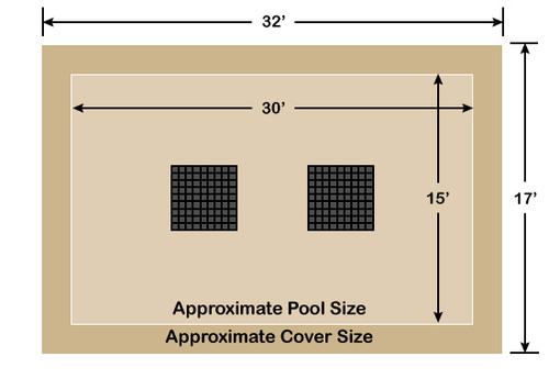 15' x 30' Rectangle Ultra-Loc III Solid Tan with Drain Panels In-Ground Pool Safety Cover