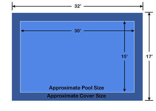 15' x 30' Rectangle Ultra-Loc III Solid Blue In-Ground Pool Safety Cover