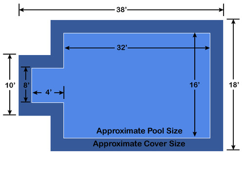 16' x 32' Rectangle with 4' x 8' Center End Step Ultra-Loc III Solid Blue In-Ground Pool Safety Cover