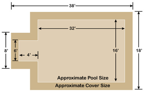 16' x 32' Rectangle with 4' x 6' Center End Step Ultra-Loc III Solid Tan In-Ground Pool Safety Cover