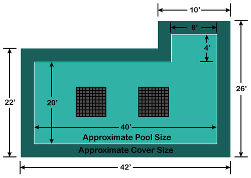 20' x 40' Rectangle with 4' x 8' Right Flush Step Ultra-Loc III Solid with Drains In-Ground Pool Safety Cover