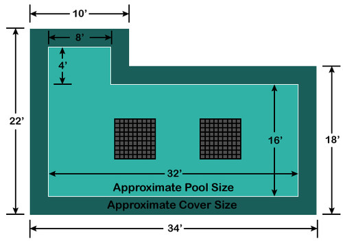 16' x 32' Rectangle with 4' x 8' Left Flush Step Ultra-Loc III Solid with Drains In-Ground Pool Safety Cover