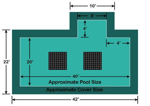 20' x 40' Rectangle with 4' x 8' Right 4' Offset Step Ultra-Loc III Solid with Drains In-Ground Pool Safety Cover