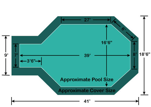 """16' 6"""" x 35' 6"""" Grecian with 3' 6"""" x 7' Center End Step Loop-Loc II Super Dense Mesh In-Ground Pool Safety Cover"""