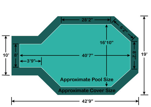 "16' 10"" x 36' 6"" Grecian with 3'9 x 8' Center End Step Loop-Loc II Super Dense Mesh In-Ground Pool Safety Cover"