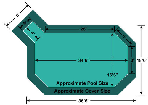 "16' 6"" x 34' 6"" Grecian with 4' x 6' Left Step Loop-Loc II Super Dense Mesh In-Ground Pool Safety Cover"