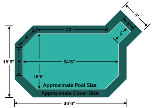 "16' 6"" x 34' 6"" Grecian with 4' x 6' Right Step Loop-Loc II Super Dense Mesh In-Ground Pool Safety Cover"