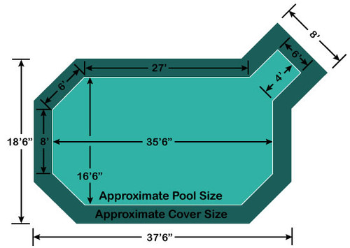 "16' 6"" x 35' 6"" Grecian with 4' x 6' Right Step Loop-Loc II Super Dense Mesh In-Ground Pool Safety Cover"