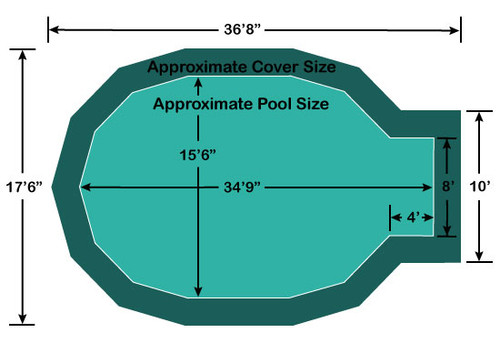 "15' 6"" x 30' 9"" Jewel with 4' x 8' Center End Step Loop-Loc II Super Dense Mesh In-Ground Pool Safety Cover"