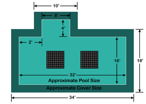 16' x 32' Rectangle with 4' x 8' Left 2' Offset Step Ultra-Loc III Solid with Drains In-Ground Pool Safety Cover